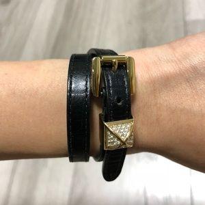 MICHAEL KORS - double wrap leather strap bracelet